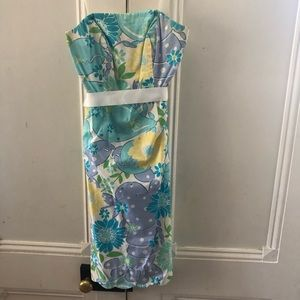 NWOT Lilly Pulitzer Strapless Blue & Yellow Dress
